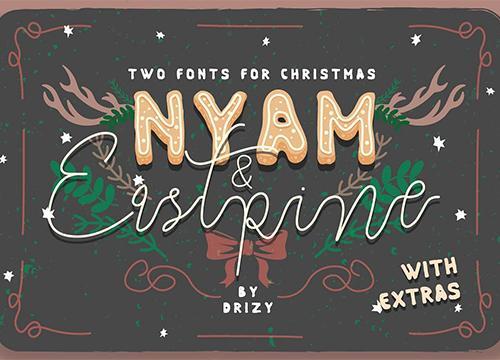 Два рождественских шрифта: Nyam & Eastpine