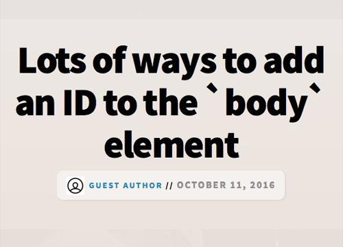 Много способов добавления ID к `body` элементу