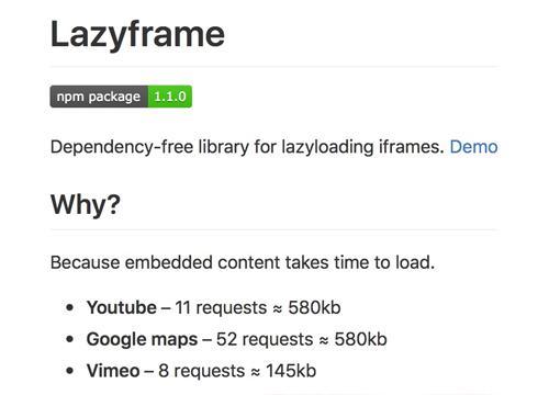 Lazyframe — «ленивая подгрузка» (lazy loading) iframe