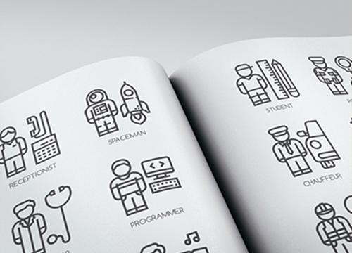 Набор «линейных» иконок с профессиями