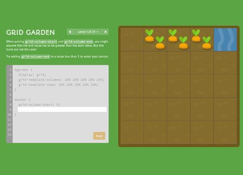 CSS Grid Garden — обучающая игра по сеткам