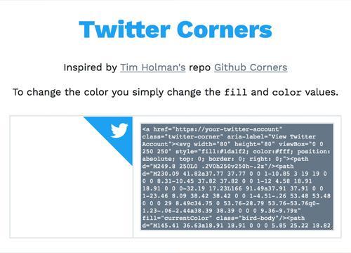 Twitter corners, почти как Github Corners