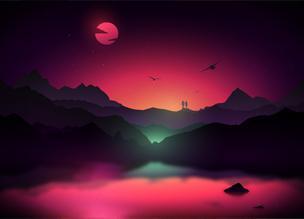 35 иллюстраций с пейзажами в ярких цветах